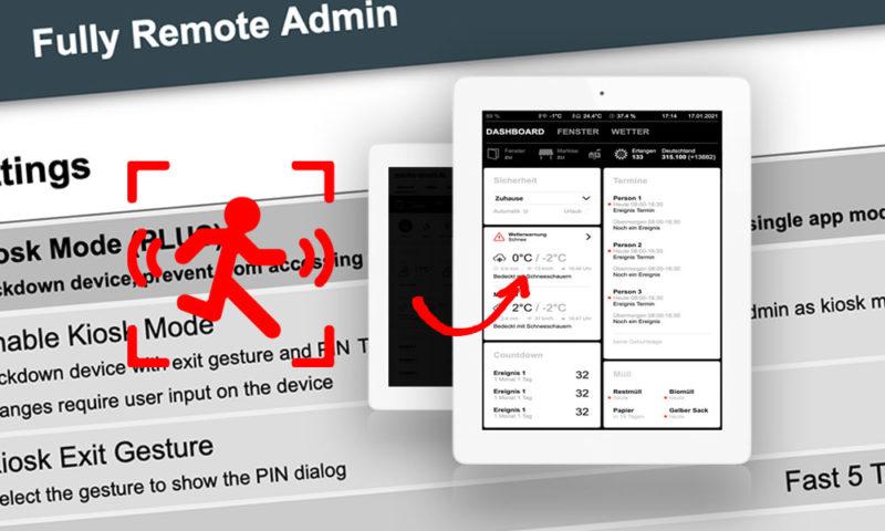 Android-Tablet mit Fully Kiosk Browser bei Bewegung automatisch einschalten