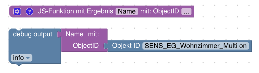 Blockly-Beispiel: Name und Raum von Objekten mit Blockly auslesen